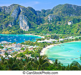 provin, île, île, -, exotique, recours, krabi, phi-phi, vue
