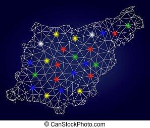 province, carte, carcasse, couleur, taches, polygonal, vecteur, gipuzkoa, lueur
