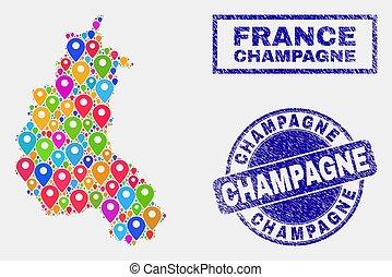 province, carte, détresse, timbre, cachets, epingles, champagne, mosaïque