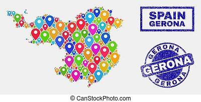 province, carte, détresse, timbre, indicateurs, cachets, gerona, mosaïque