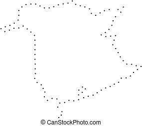 province, carte, pointillé, coup, nouveau brunswick