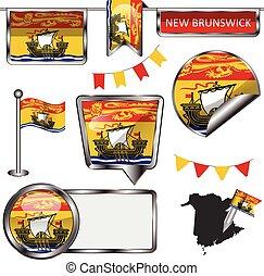 province, icônes, drapeau, lustré, nouveau brunswick