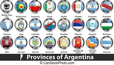 Flags of provinces of Argentina in badges. Vector image