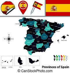 Provinces of Spain - Vector map of Spain with fifty named...