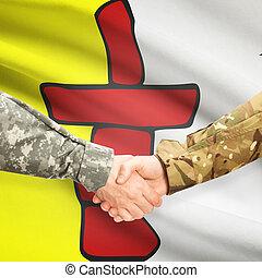 provincia, apretón de manos, canadiense, -, bandera, militar, nunavut