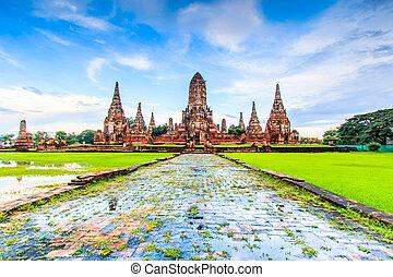 provincia, ayuthaya, chaiwatthanaram, tailandia, wat, templo