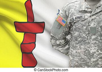 provincia, canadiense, -, norteamericano, soldado, bandera, plano de fondo, nunavut