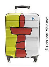provincia, canadiense, serie, -, bandera, maleta, territorio, nunavut