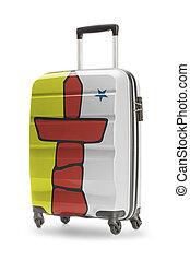 provincia, canadiense, serie, -, bandera, maleta, territorio, o, nunavut