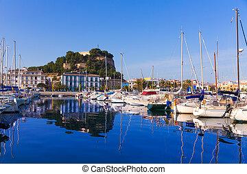 provincia, denia, alicante, colina, castillo, puerto, españa