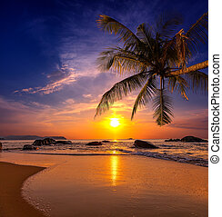 provincia,  khao,  lak, encima, ocaso, mar, Tailandia
