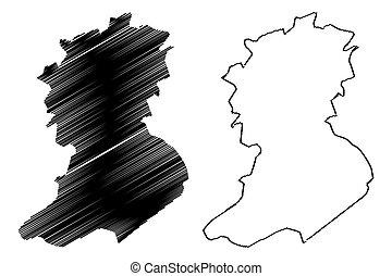 provincia, mapa, algeria), abbes, bel, argelia, ilustración, bosquejo, sidi, vector, república, pueblos, (provinces, democrático, garabato