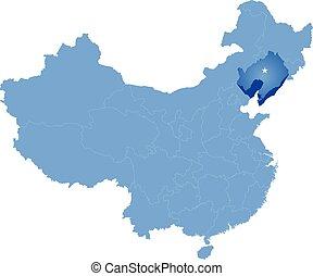 provincia, mapa, liaoning, -, república, gente, china