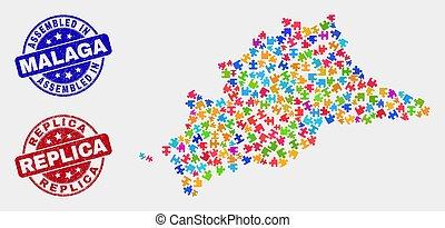 provincia, mapa, málaga, lío, sellos, rasguñado, réplica,...