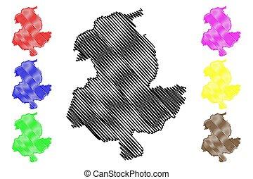 provincia, mapa, provincias, sari, (islamic, ilustración, sar-e, bosquejo, pol, vector, república, garabato, afghanistan), pul, afganistán
