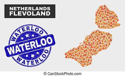 provincia, mappa, afflizione, flevoland, bruciatura, francobollo, sigillo, mosaico, waterloo