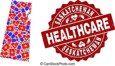 provincia, mappa, afflizione, francobollo, saskatchewan, sigillo, sanità, composizione, mosaico