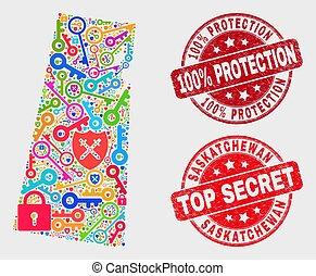 provincia, mappa, afflizione, passkey, collage, saskatchewan, 100%, francobollo, protezione, sigillo