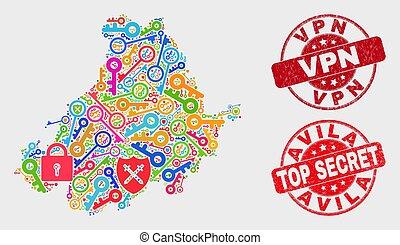 provincia, mappa, afflizione, watermark, collage, avila, guardia, vpn