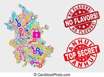 provincia, mappa, anhui, assicurare, no, collage, sigillo, flavors!, afflizione