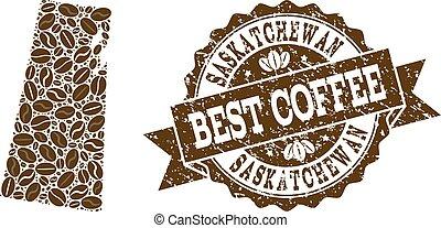 provincia, mappa, caffè, afflizione, francobollo, saskatchewan, collage, fagioli