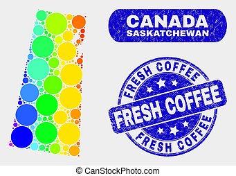 provincia, mappa, caffè, grunge, francobollo, saskatchewan, spettro, sigillo, fresco, mosaico