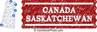 provincia, mappa, collage, saskatchewan, aria, polygonal, francobollo, maglia, textured, biglietto