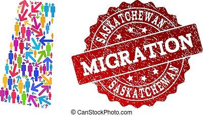provincia, mappa, collage, saskatchewan, graffiato, migrazione, sigillo, mosaico