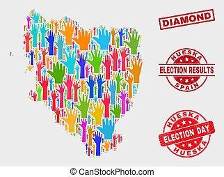 provincia, mappa, diamante, collage, graffiato, elezione, sigillo, hueska