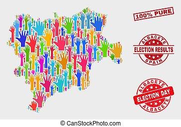 provincia, mappa, grunge, albacete, collage, 100%, watermark, puro, poll