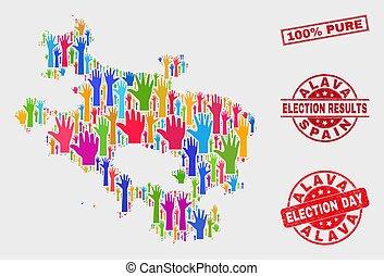provincia, mappa, grunge, collage, 100%, elettorale, alava, puro, sigillo