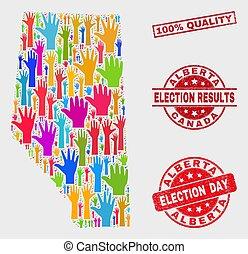 provincia, mappa, grunge, collage, 100%, elezione, sigillo, alberta, qualità