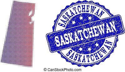 provincia, mappa, grunge, francobollo, saskatchewan, halftone, pendenza, composizione