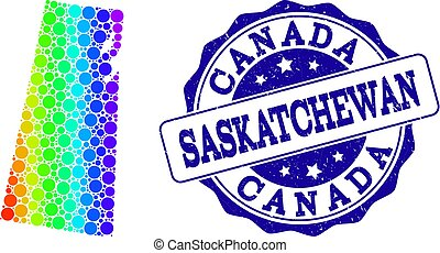 provincia, mappa, grunge, francobollo, saskatchewan, spettro, sigillo, puntino