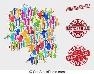 provincia, mappa, grunge, hunan, collage, invalido, francobollo, soltanto, sigillo, voto