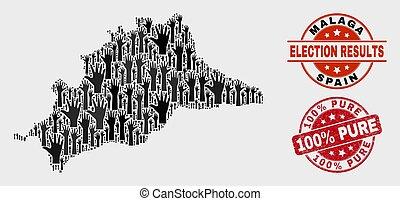 provincia, mappa, malaga, watermark, collage, 100%, graffiato, puro, votazione