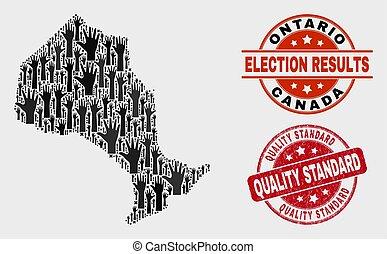 provincia, mappa, ontario, afflizione, francobollo, standard, voto, qualità, composizione