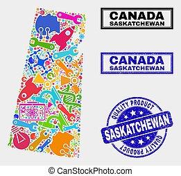 provincia, mappa, prodotto, collage, saskatchewan, sigillo, tecnologia, qualità