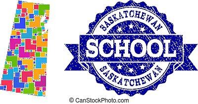 provincia, mappa, scuola, afflizione, francobollo, saskatchewan, collage, mosaico