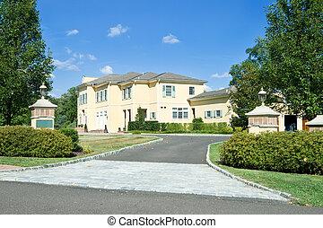 provinciaal, philadelphia, gezin, voorstedelijk, paal, lang, pennsylvania., enkel, franse , poort, thuis, nieuw, style., oprit