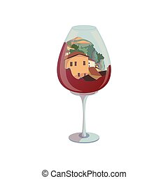 Provincial city inside the wine glass. Vector illustration on white background.