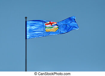 Provincial Flag for Alberta, Canada blowing in the wind ...