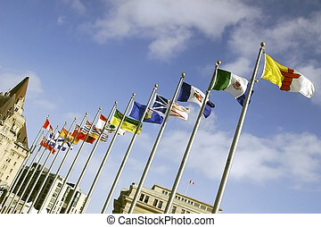 Provincial Flags - Flags waving in Confederation Square,...