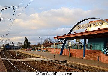 Provincial railway station in Zaslavl, Belarus
