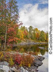 provinciano, norteño, parque, -, otoño, algonquin, río