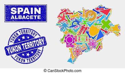 provincie, albacete, watermark, collage, gekraste, kaart, gebied, technologie, yukon