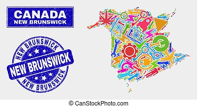 provincie, kaart, grunge, postzegel, zeehondje, nieuwe brunswick, technologie, mozaïek