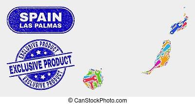 provincie, kaart, product, grunge, palmas, exclusief, postzegel, fabriek, zegels, las