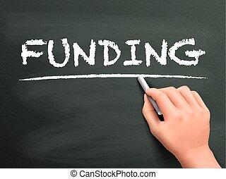 provisión de recursos financieros, palabra escrita, mano
