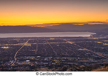 Provo, Utah, USA view of downtown from the lookout during dusk.